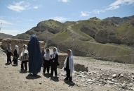 Girls on the way to school. It is very common for children to have to walk for many miles, as schools are still sparse in rural Badakhshan..